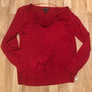 INTERNATIONAL CONCEPTS Red Metallic Sweater Large